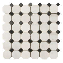 Мозаика Octagon MwP48x48 + BsP15x15 натуральный мрамор Wild Stone