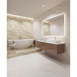 Керамогранит Palacio Stelia Light Grey 60x120 Polished в интерьера ванной комнаты