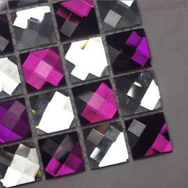 Мозаика на сетке стеклянная F2x4 лиловый микс
