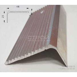 Схематические размеры алюминиевого профиля для порогов с крупными зубцами АУ-44-23.