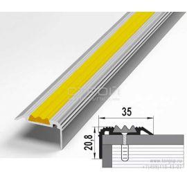 Размеры внешнего углового порога из алюминия с желтой вставкой.