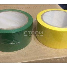 Лента зеленая и желтая ПВХ для разметки и маркировки PVC Floor Making Tape green color.