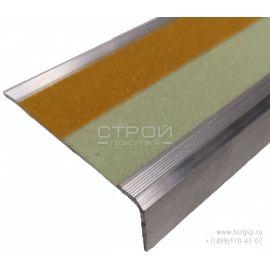 Алюминиевый профиль под ленту АУ-71х25 шириной 50 мм с светящейся и сигнальной желтой полосой.
