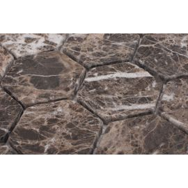 Мозаика Hexagon Dark Emperador Tumbled (JMST6308TM) 282X260X8 мм
