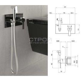 Elsa Teska гигиенический душ с панелью из черного закаленного стекла с подачей горячей и холодной воды