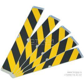 Сигнальные накладки с алюминиевыми полосами 114 мм и с противоскользящей черно-желтой абразивной лентой.