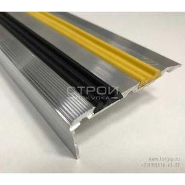 Угол порог с противоскользящей вставкой — ЭКО 68х30 черного и желтого цвета.
