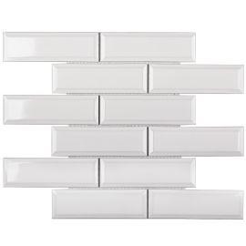 Керамическая мозаика Metro White Glossy 45х145 (KM82895) на сетке 287х295х6,5 см из коллекции Brick & Metro.