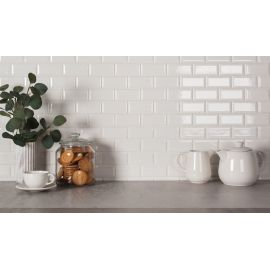 Керамическая мозаика Metro White Glossy 45х95 (AM81945) на сетке 288х294х6,5 мм из коллекции Brick & Metro.