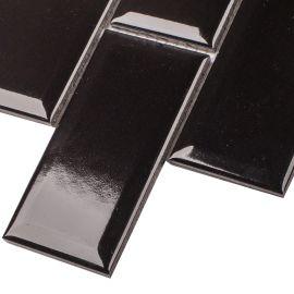 Керамическая мозаика Metro Black Glossy 45х95 (AM84445) на сетке 288х294х6,5 мм из коллекции Brick & Metro.