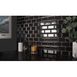 Керамическая мозаика Metro Black Glossy 45х95 (AM84445) 288х294х6,5 на сетке