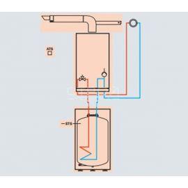 Схема подключения котла одноконтурного Vitopend 100-W с закрытой камерой сгорания и бойлера Vitocell 100-W CUG на 100 литров.