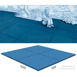 Резиновое покрытие Rubblex Standart синего цвета 50х50 см.