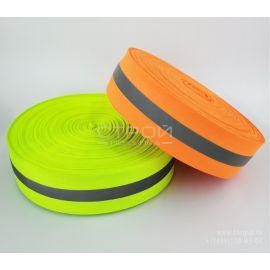 Зеленая светоотражающая тканевая лента Reflective fabric tape 5см x 50мЗеленая светоотражающая тканевая лента Reflective fabric tape 5см x 50м