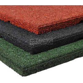 Резиновая плитка Rubblex Standart кирпичного, черного и зеленого цветов.