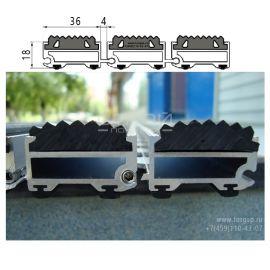 Грязезащитная решетка потайного типа с резиной - технические размеры