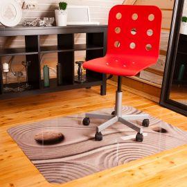 Защитный коврик под кресло Дзен с УФ печатью гладкий из поликарбоната 90х120 см, толщина 1мм