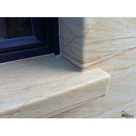 Пример как отделать оконный проем гибким камнем