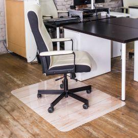 Защитный коврик под кресло Светлое дерево с УФ печатью гладкий из поликарбоната 90х120 см, толщина 1мм