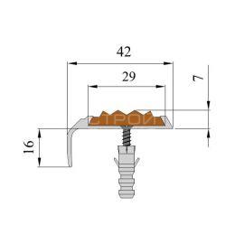 Схема расположения вставки 29 х 5,8 мм в алюминиевом угол-пороге NEXT АНУ42.