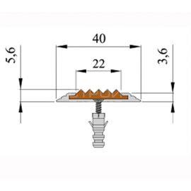 Размеры алюминиевого противоскользящего профиля на ступени без вставки, полосы 40х5,6 мм.