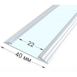 Алюминиевый противоскользящий профиль на ступени без вставки, полоса 40х5,6 мм.