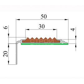 Схема уголка для ступеней лестницы, 50 мм Премиум.