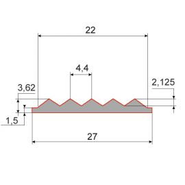 Cхема резиновой вставки для алюминиевого профиля, 27х4 мм.