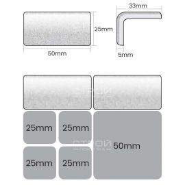 Технические размеры противоскользящего уголка для бассейна Ezarri.