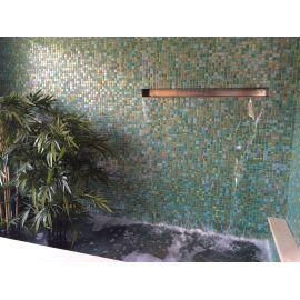 Мозаика Kiwi Topping (Испания, Ezarri)из зеленого стекла с переливами и декорированными чипами