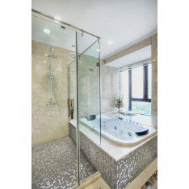 Мозаика Sahara Mix Iris — фото в интерьере ванной комнаты с душевой