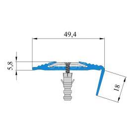 Технические размеры углового противоскользящего профиля Next АНУ494, с противоскользящей резиной.