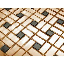 Золотая с серым зеркальная мозаика GD42-2 Deco на сетке.