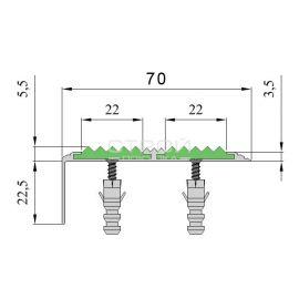 Размер алюминиевого накладного угол порога Next АНУ70-2 с резиновыми вставками.