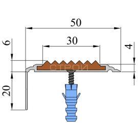 Схема противоскользящего порога-угла на ступени шириной 50 из алюминиевого каркаса с усиленной конструкцией и нескользящей цветной вставкой.