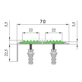 Размер анодированного порога АНУ70А для ступеней.