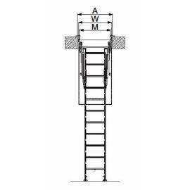 Размерная схема проема для лестницы Fakro LSF ножничного типа.