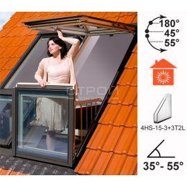 Окно балкон трансформер FGH-V — двухстворчатое мансардное окно, нижняя створка которого при открывании трансформируется в балкон, а верхняя как окно.