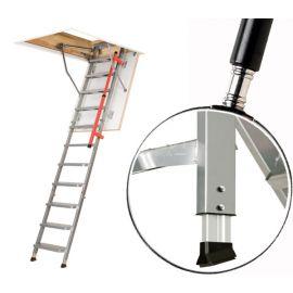 Чердачная лестница LML Lux с телескопическими ножками позволяет подогнать ее при установке под высоту потолка.