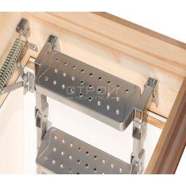 Противоскользящие ступени чердачной лестницы LML Lux с телескопическими ножками.