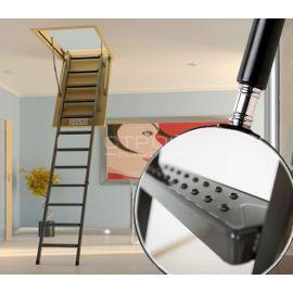 Чердачная лестница LMS - металлическая  лестница с противоскользящими ступенями и поручнем.