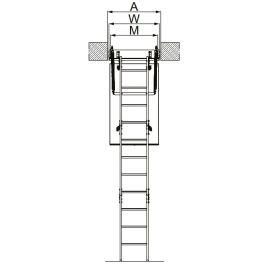Обозначение фронтальных размеров чердачной лестницы Fakro LMP.