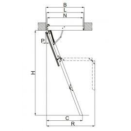 Профильная схема трехсекционной лестницы  Fakro LWT Thermo с размерными линиями. Размеры можно посмотреть в технических характеристиках.