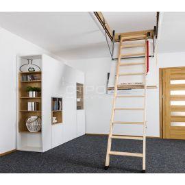 Внешний вид чердачной лестницы Fakro LWT Thermo в интерьере.