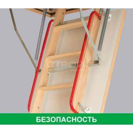 Поручень LXH из металла повышает безопасность при подъеме на чердачной лестнице Fakro.