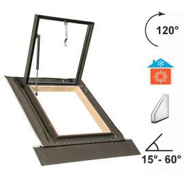 Угол распахивания окна люка на крышу WGI до 120°, 2 закаленных стекла, угол установки на крышу 15°-60°.