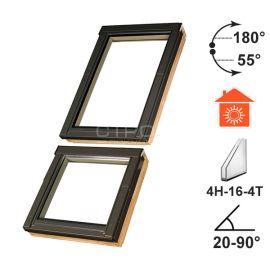 Двойное мансардное окно FDY-V U3 состоящее из нижнего глухого или открывающегося окна и верхнего окна открывающегося на центральной оси.