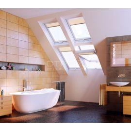 Мансардное окно PTP U3/PTP-V U3 в интерьере ванной.
