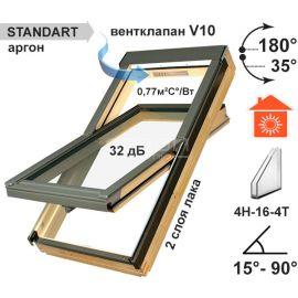 Двухкамерное мансардное окно FTS-V-U2,  с вентклапаном V10 и 3 контурами уплотнения.