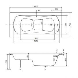 Размеры сидячей ванны 120х70 Aria Rehab с сиденьем.